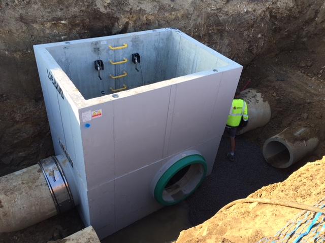 Sodebo, réseau d'eaux pluviales chantier