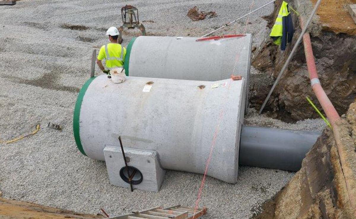 Préfabriqué béton pour un bassin de rétention