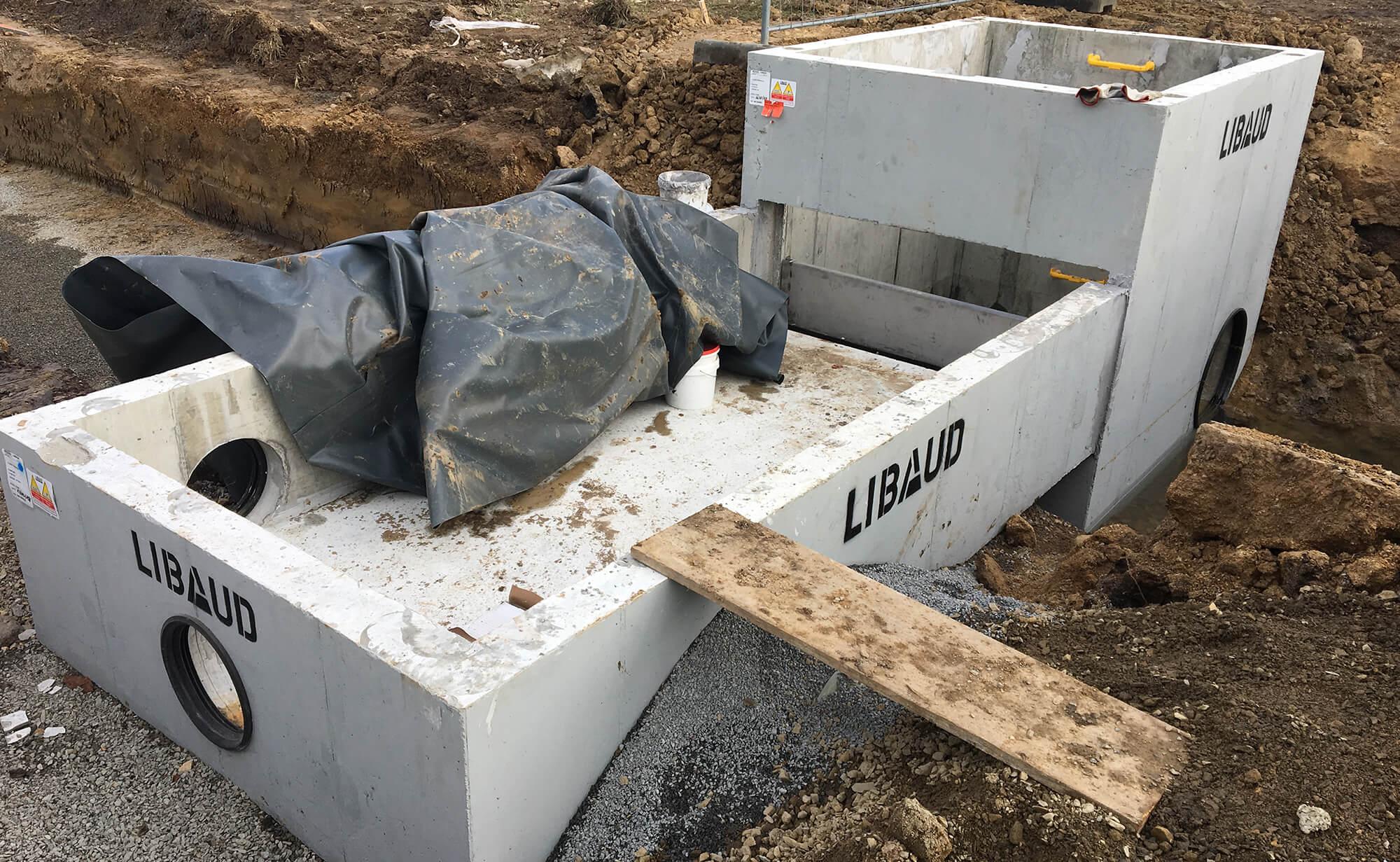 Préfa béton pour réseau d'eau à la baule